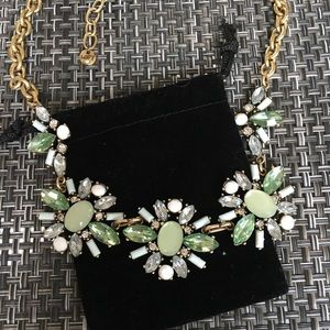 Gemstone green and gold necklace.